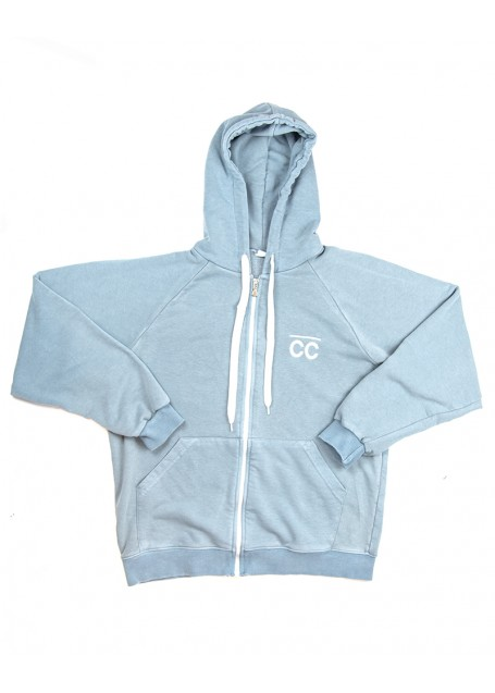 CC Zipped Hoodie Bright Blue white with Bright White logo (front/back)