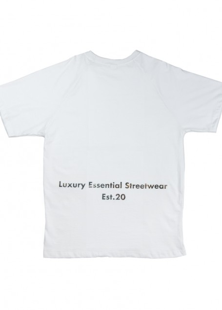 Pattern white T-shirt white with printed pattern logo (front/back)