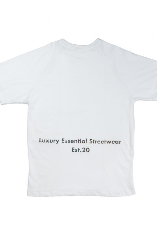 Pattern white T-shirt white with printed pattern logo (front/back) T-shirts