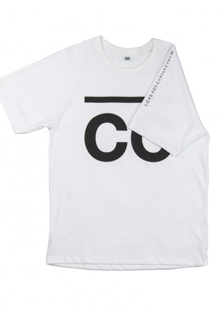 Original T-shirt white with black print on sleeves and front