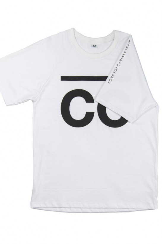 Original T-shirt white with black print on sleeves and front T-shirts