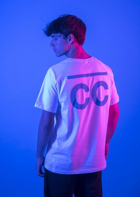 Bright Blue CC T-shirt white (front/back)