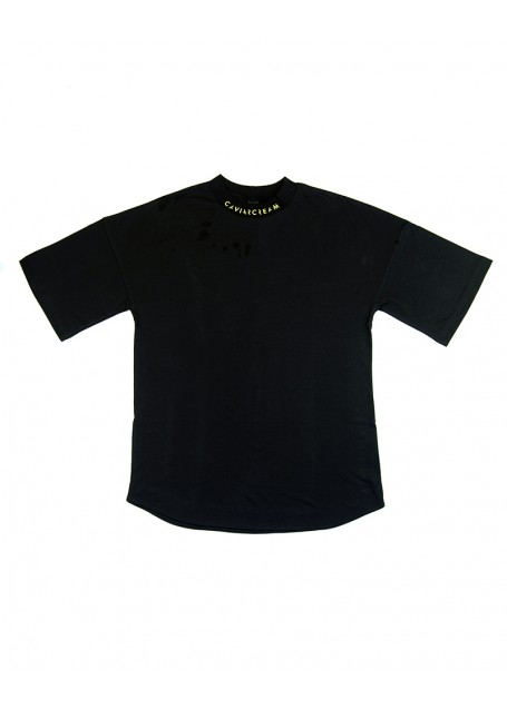 Neck-Back oversize sleeve T-shirt black with yellow silkscreen
