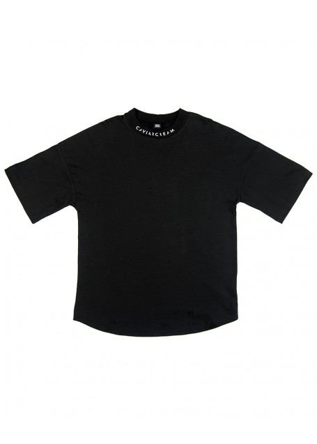 Neck oversize sleeve T-shirt black with white silkscreen in the front