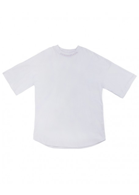 Neck-Back oversize sleeve T-shirt white with pink silkscreen (front/back)