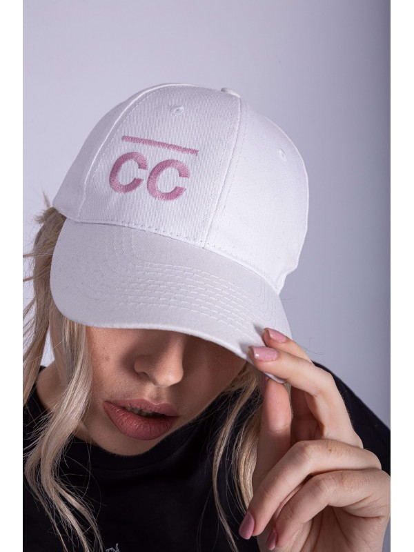 White Hat with Baby pink CC logo