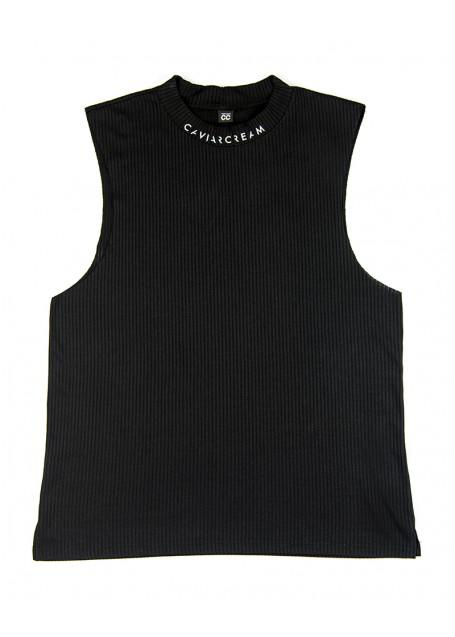Vest oversize Black Caviar Cream neckline with white logo at the neckline