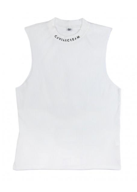 Vest oversize ecru with Caviar Cream logo at the neckline