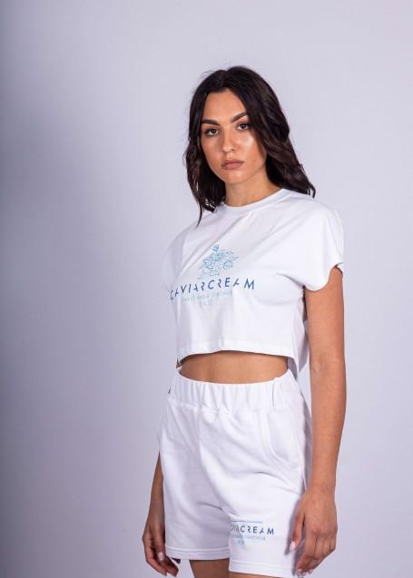 Women T-shirt crop white stonewashed