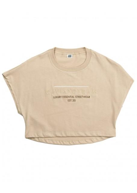Women T-shirt crop sand stone washed