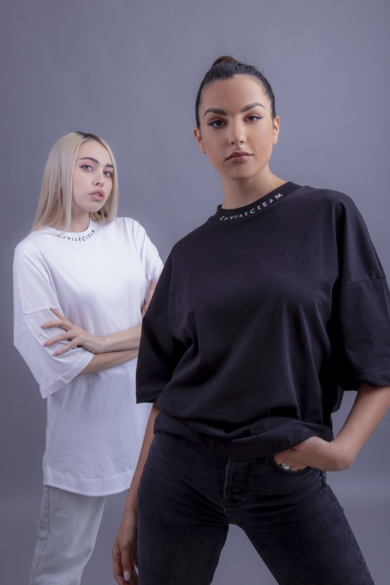 Neck-Back oversize sleeve T-shirt white with black silkscreen (front/back) T-shirts